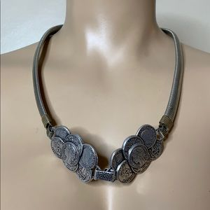 Vintage Silver Antique Coin Snake Chain Necklace